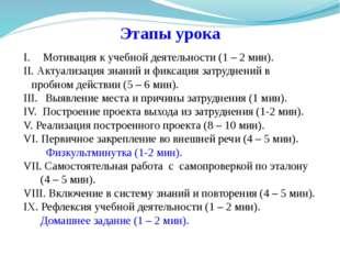 Этапы урока Мотивация к учебной деятельности (1 – 2 мин). Актуализация знаний