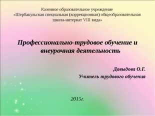 Казенное образовательное учреждение «Шербакульская специальная (коррекционная