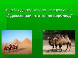"""""""Верблюда под ковром не спрячешь"""" """"И доказывай, что ты не верблюд"""""""