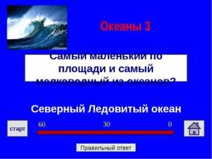 Северный Ледовитый океан Самый маленький по площади и самый мелководный из ок