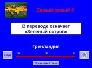 Гренландия В переводе означает «Зеленый остров» Самый-самый 4 0 30 60 старт П