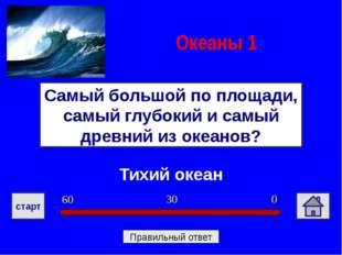 Тихий океан Самый большой по площади, самый глубокий и самый древний из океан