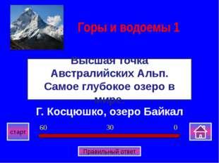 Г. Косцюшко, озеро Байкал Высшая точка Австралийских Альп. Самое глубокое озе