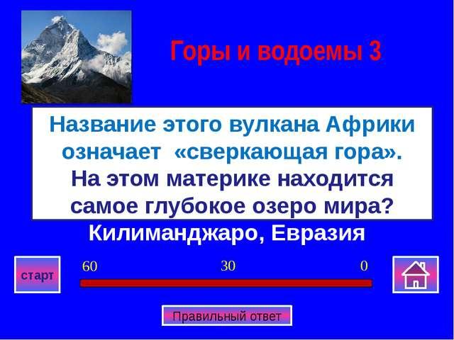 Килиманджаро, Евразия Название этого вулкана Африки означает «сверкающая гора...