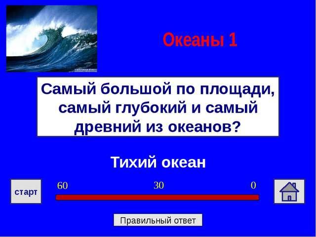 Тихий океан Самый большой по площади, самый глубокий и самый древний из океан...