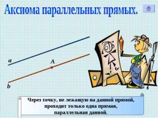 а b Через точку, не лежащую на данной прямой, проходит только одна прямая, па