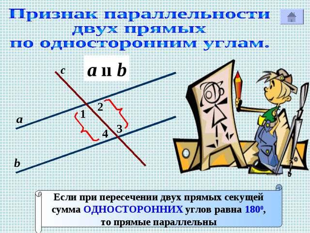 1 с Р 2 3 4 а b Если при пересечении двух прямых секущей сумма ОДНОСТОРОННИХ...