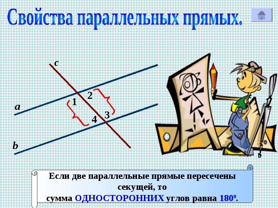 1 с Р 2 3 4 а b Если две параллельные прямые пересечены секущей, то сумма ОДН...