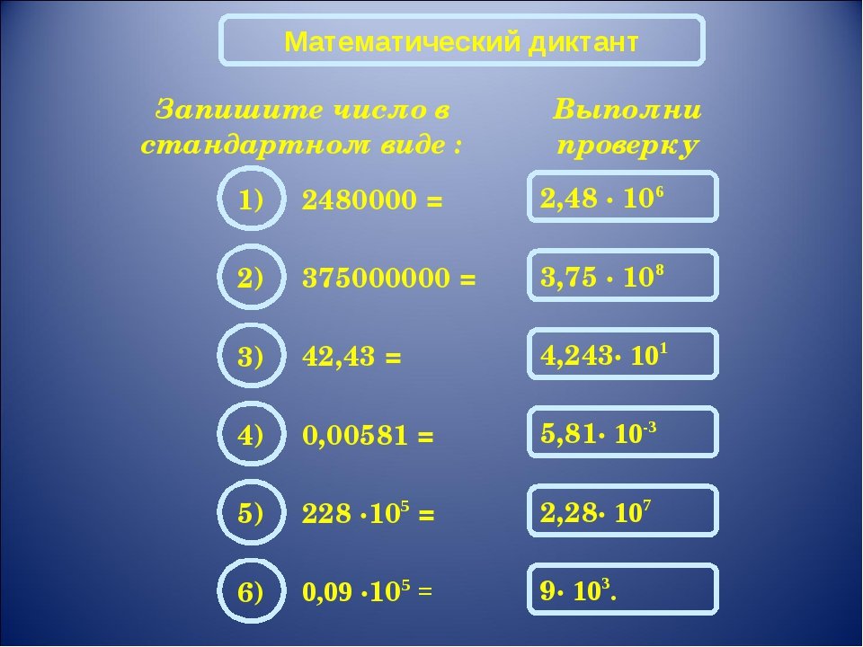Математический диктант Запишите число в стандартном виде : 2480000 = Выполни...