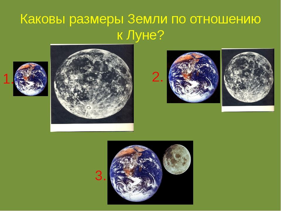 Каковы размеры Земли по отношению к Луне? 1. 2. 3.