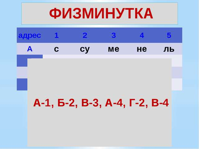ФИЗМИНУТКА  А-1, Б-2, В-3, А-4, Г-2, В-4