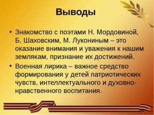 Выводы Знакомство с поэтами Н. Мордовиной, Б. Шаховским, М. Лукониным – это