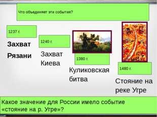 Захват Рязани 1237 г. 1240 г. 1380 г. 1480 г. Захват Киева Куликовская битва