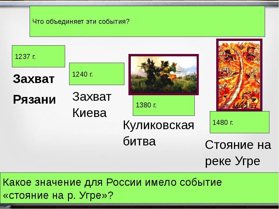 Захват Рязани 1237 г. 1240 г. 1380 г. 1480 г. Захват Киева Куликовская битва...