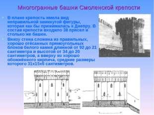 Многогранные башни Смоленской крепости В плане крепость имела вид неправильно