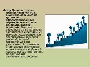 Метод Дельфи. Члены группы независимо и анонимно отвечают на детально сформул