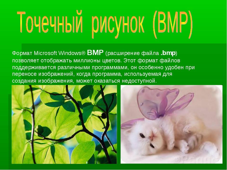 Формат Microsoft Windows® BMP (расширение файла .bmp) позволяет отображать ми...