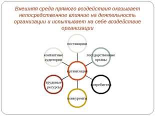 Внешняя среда прямого воздействия оказывает непосредственное влияние на деяте
