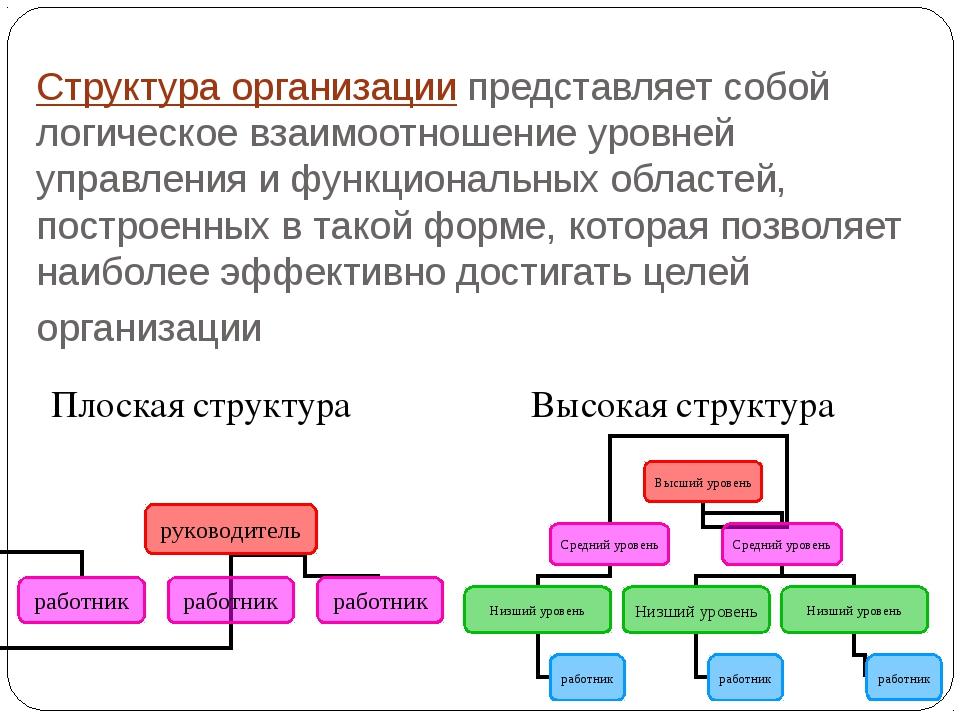 Структура организации представляет собой логическое взаимоотношение уровней у...
