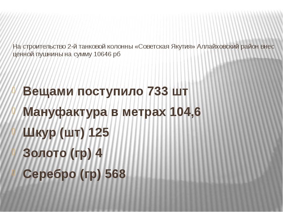 На строительство 2-й танковой колонны «Советская Якутия» Аллайховский район в...