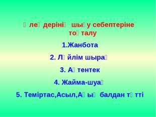 Өлеңдерінің шығу себептеріне тоқталу Жанбота 2. Ләйлім шырақ 3. Ақтентек 4. Ж