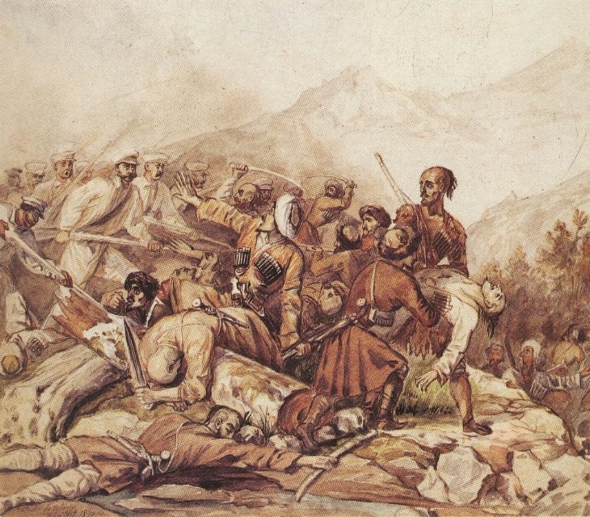 H:\Картины Лермонтова\галерея\Эпизод сражения при Валерике,_1840,_Valerik.jpg