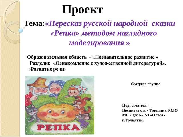 Проект Тема:«Пересказ русской народной сказки «Репка» методом наглядного мод...
