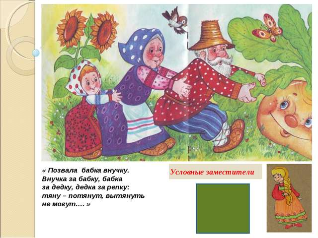 « Позвала бабка внучку. Внучка за бабку, бабка за дедку, дедка за репку: тяну...