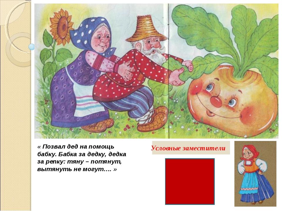 « Позвал дед на помощь бабку. Бабка за дедку, дедка за репку: тяну – потянут,...