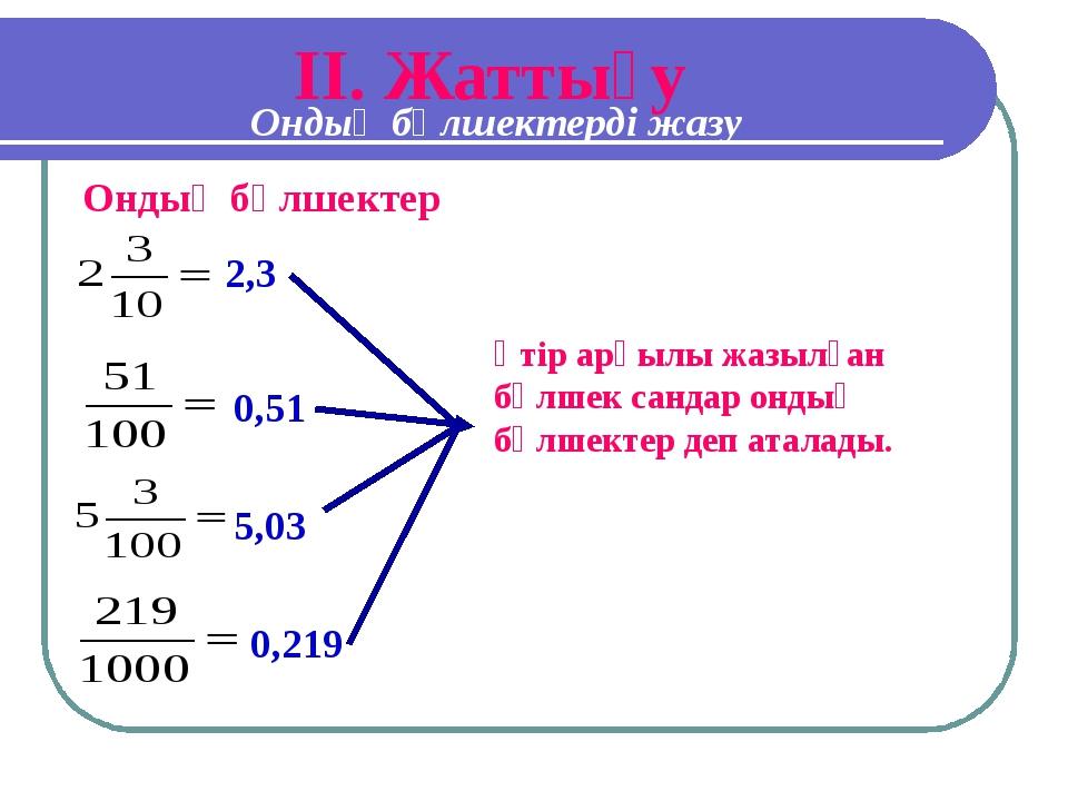 IІ. Жаттығу 2,3 0,51 5,03 0,219 Ондық бөлшектер Үтір арқылы жазылған бөлшек с...