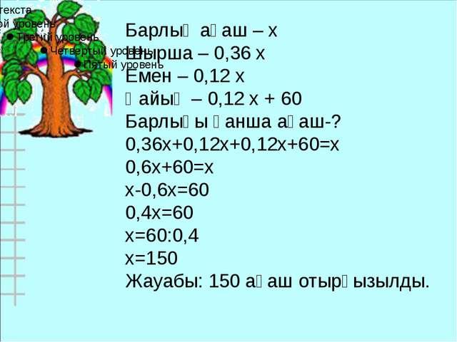 Барлық ағаш – х Шырша – 0,36 х Емен – 0,12 х Қайың – 0,12 х + 60 Барлығы қанш...