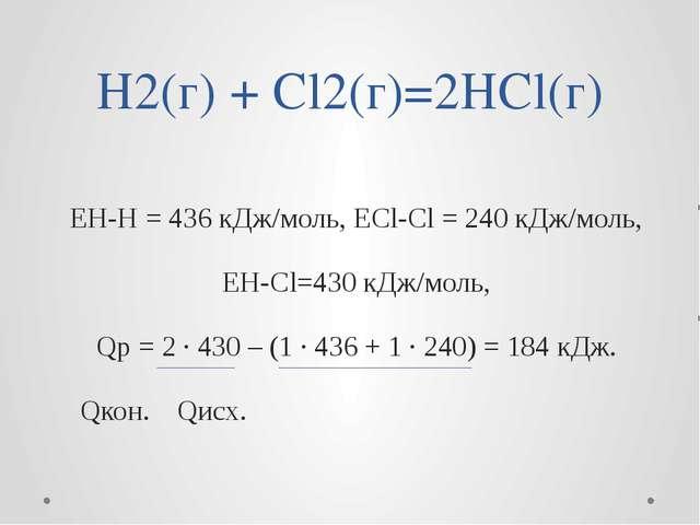 H2(г) + Cl2(г)=2HCl(г) EH-H = 436 кДж/моль, ЕCl-Cl = 240 кДж/моль, EH-Cl=430...