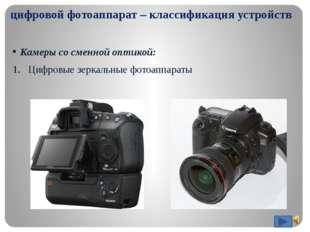 цифровой фотоаппарат – классификация устройств Камеры со сменной оптикой: Ци
