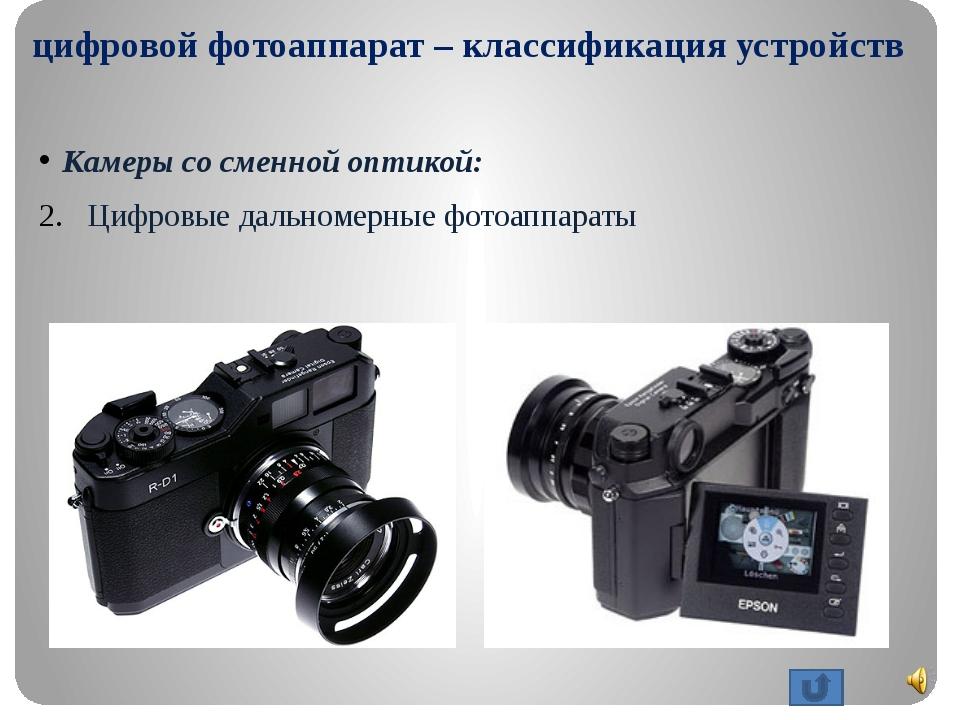 цифровой фотоаппарат – классификация устройств Камеры со сменной оптикой: Ци...