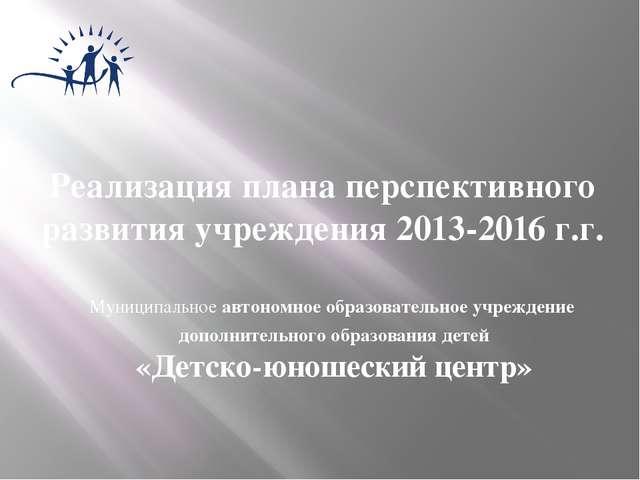 Реализация плана перспективного развития учреждения 2013-2016 г.г. Муниципаль...