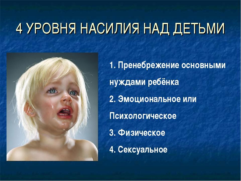 4 УРОВНЯ НАСИЛИЯ НАД ДЕТЬМИ 1. Пренебрежение основными нуждами ребёнка 2. Эмо...