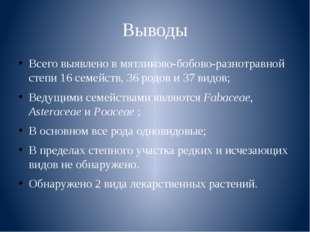 Выводы Всего выявлено в мятликово-бобово-разнотравной степи 16 семейств, 36 р