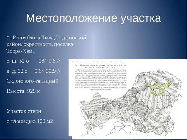 Местоположение участка *- Республика Тыва, Тоджинский район, окрестность посе...