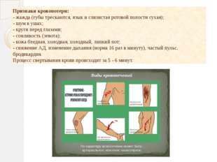 Признаки кровопотери: - жажда (губы трескаются, язык и слизистая ротовой пол