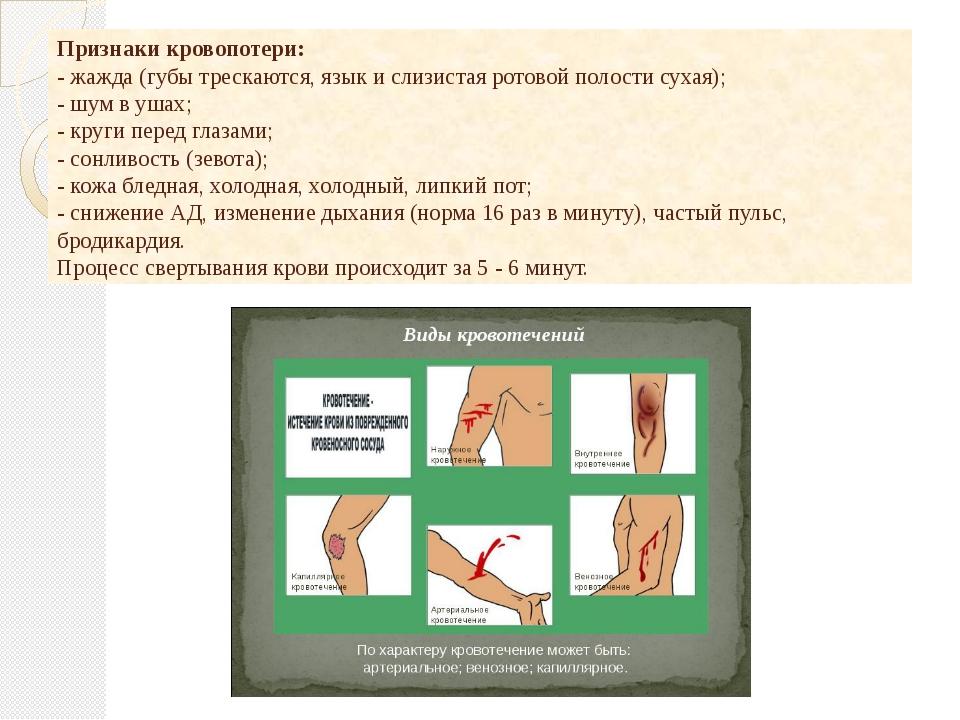 Признаки кровопотери: - жажда (губы трескаются, язык и слизистая ротовой пол...