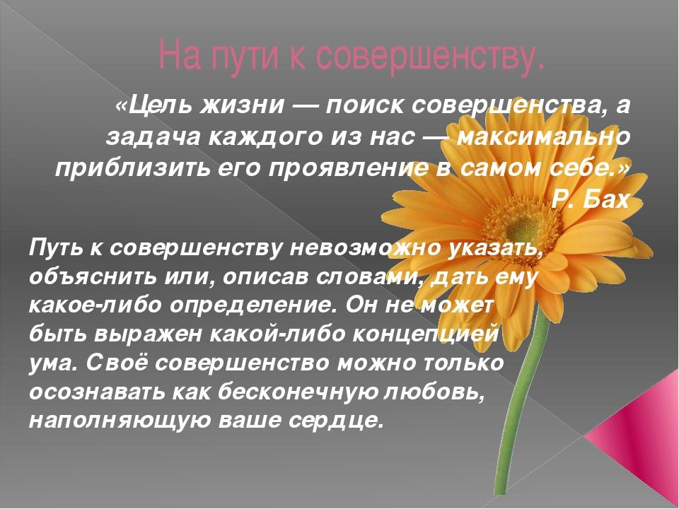 На пути к совершенству. «Цель жизни — поиск совершенства, а задача каждого из...