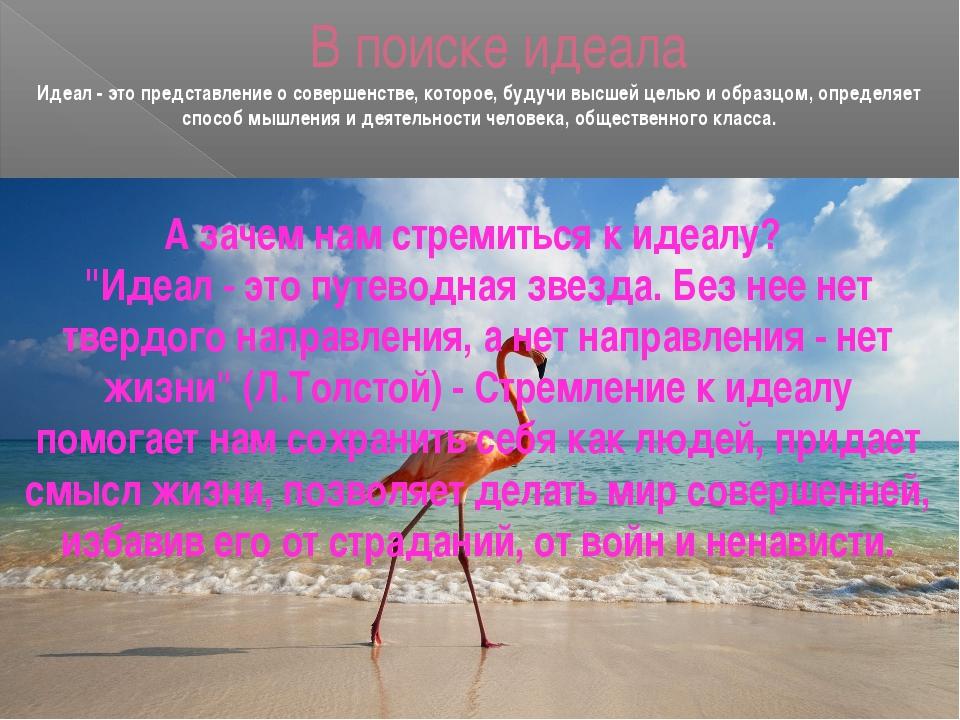 В поиске идеала Идеал - это представление о совершенстве, которое, будучи выс...
