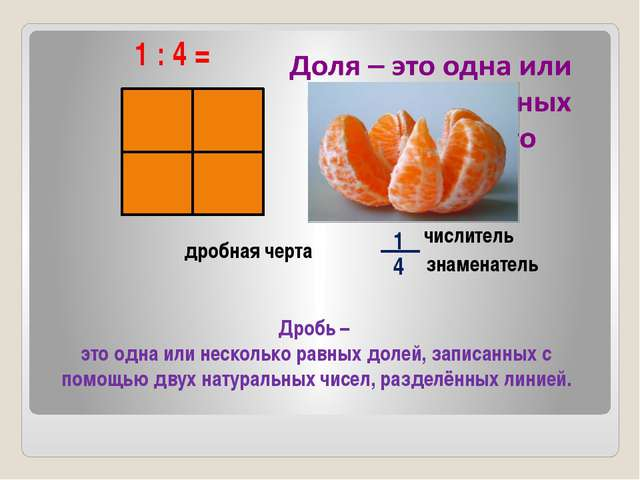 1 : 4 = числитель знаменатель Дробь – это одна или несколько равных долей, з...