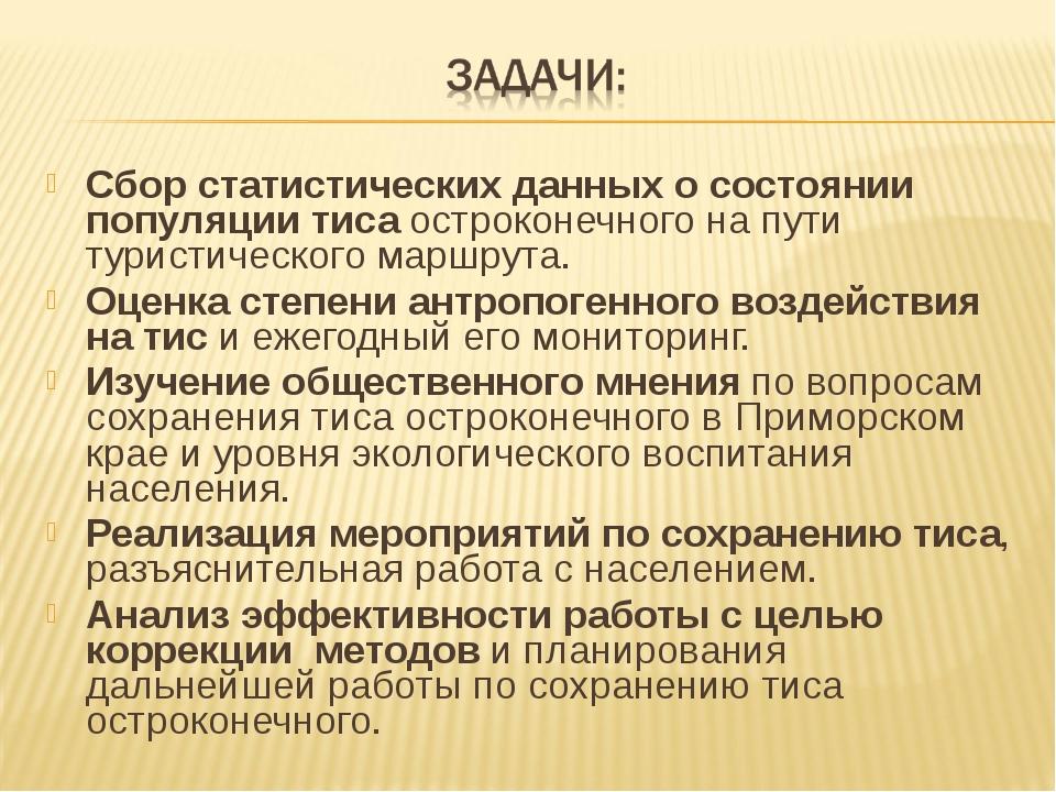 Сбор статистических данных о состоянии популяции тиса остроконечного на пути...
