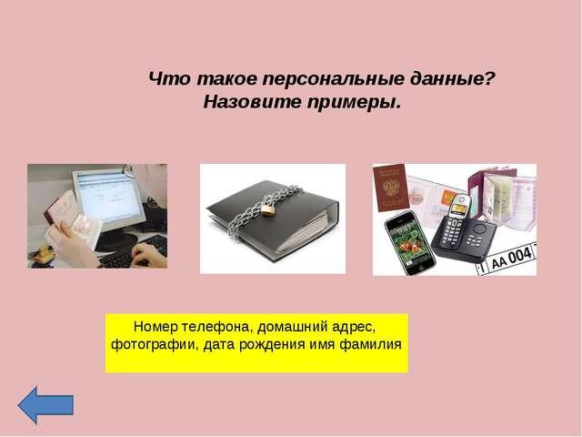 Что такое персональные данные? Назовите примеры. Номер телефона, домашний ад...