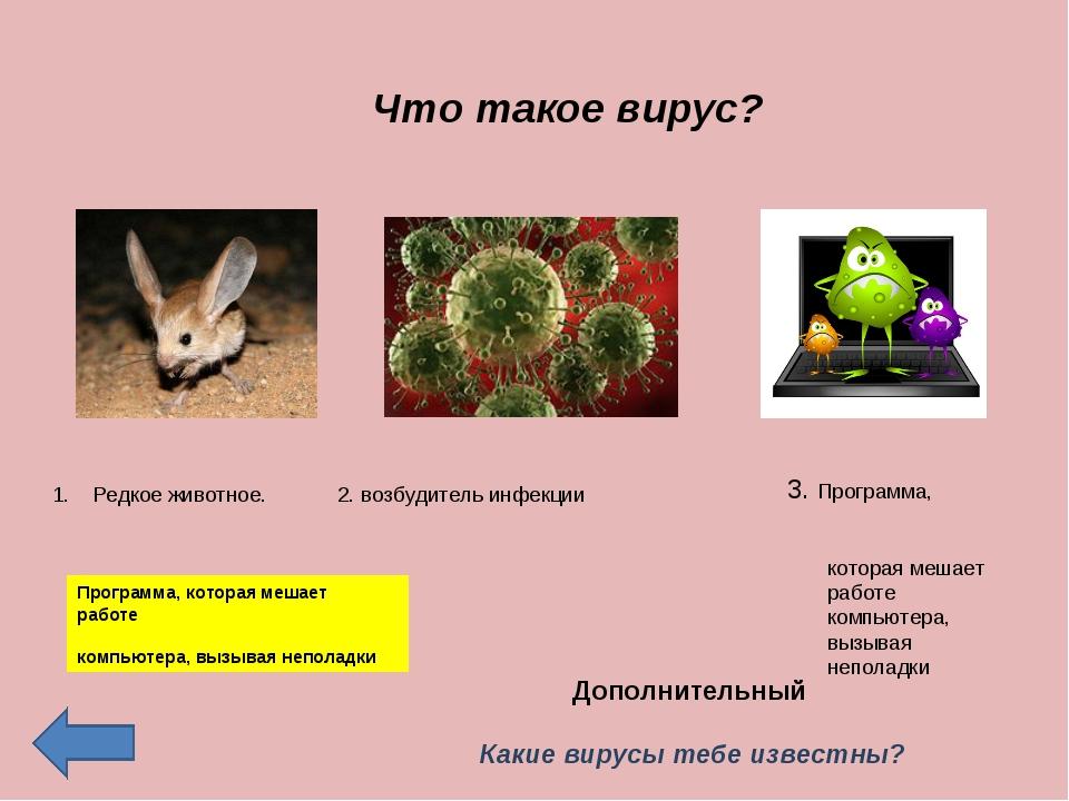 Что такое вирус? Редкое животное. 2. возбудитель инфекции 3. Программа, котор...