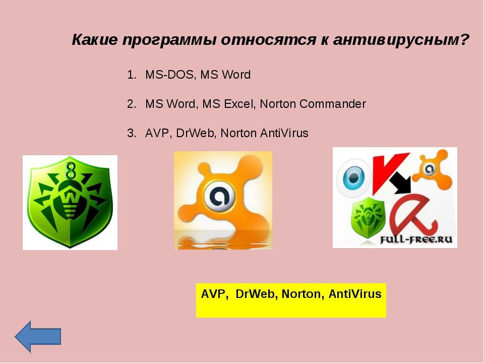 MS-DOS, MS Word MS Word, MS Excel, Norton Commander AVP, DrWeb, Norton AntiVi...