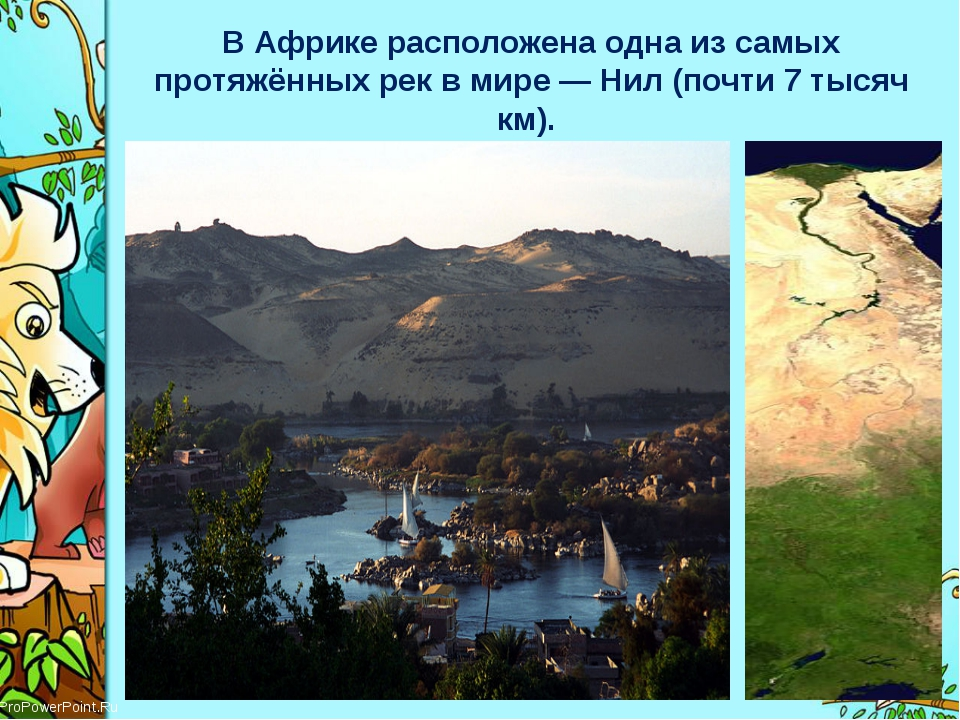 В Африке расположена одна изсамых протяжённых рекв мире—Нил (почти 7 тыся...
