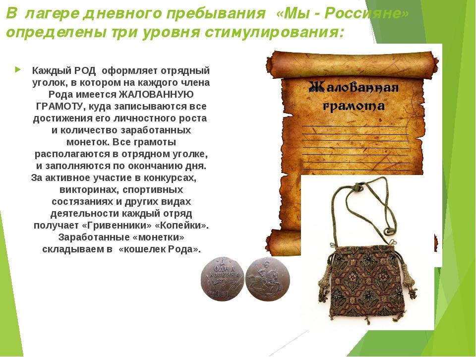 В лагере дневного пребывания «Мы - Россияне» определены три уровня стимулиров...