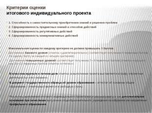 Критерии оценки итогового индивидуального проекта 1. Способность к самостояте